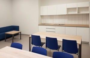 Virtuvės baldai biure. Valgomojo stalai ir kėdės. Kavos staliukas ir minkštasuolis.